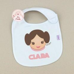 Babero Personalizado Nombre + Princesa Leia