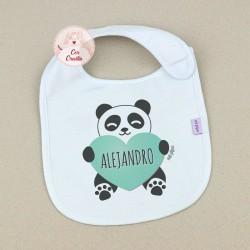 Babero Personalizado Nombre + Panda Corazón