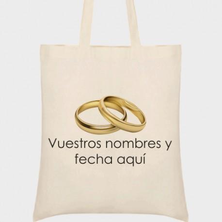 Bolsa de tela boda anillos oro
